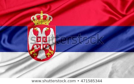 Absztrakt Szerbia zászló kék íj piros Stock fotó © maxmitzu