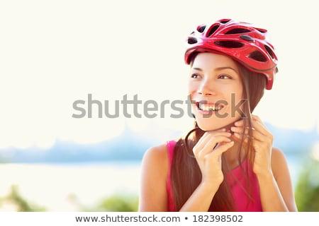 Yetişkin bisiklet kask yalıtılmış beyaz Stok fotoğraf © snyfer