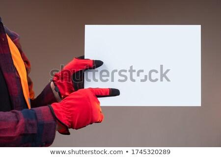 Artesano senalando algo construcción fondo blanco Foto stock © photography33