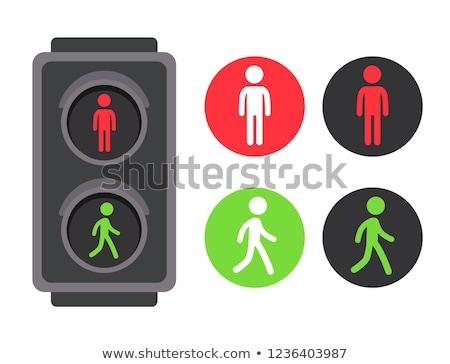 Stoplicht voetganger witte verkeer gemakkelijk weg Stockfoto © idesign