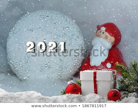 Mikulás szobrocska üveg havazik labda piros Stock fotó © lunamarina