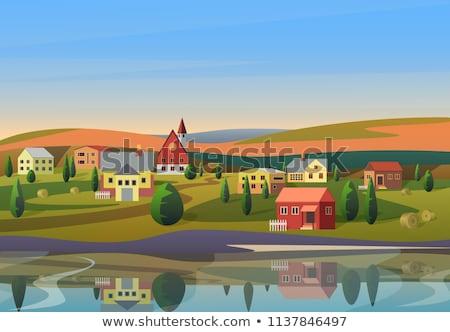 Klein dorp platteland sluiten natuur Blauw Stockfoto © Discovod
