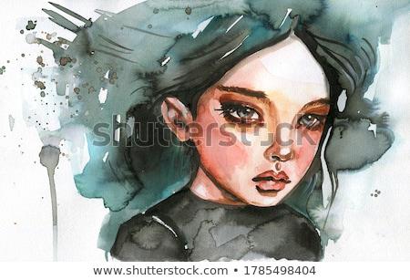 Stockfoto: Portret · mooi · meisje · retro-stijl · meisje · lippen · huid