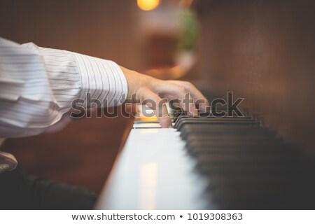 Zongorista templom közelkép kezek könyv állás Stock fotó © lisafx