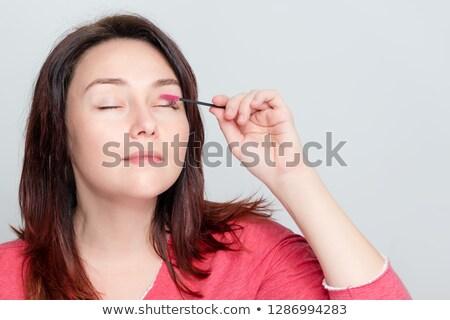 Pintura mulheres rímel jovem morena Foto stock © maros_b
