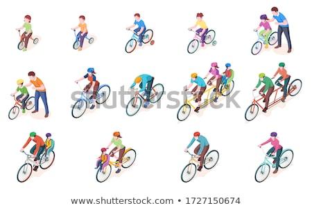 portré · vicces · kiabál · kerékpáros · biciklis · nyár - stock fotó © toocan