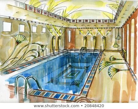Egyptian swimming pool Stock photo © andromeda