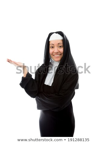 Young nun smiling with pointing Stock photo © bmonteny
