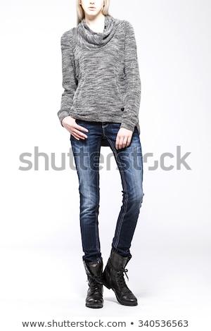 blond · vrouwen · toevallig · grijs · gebreid - stockfoto © zastavkin