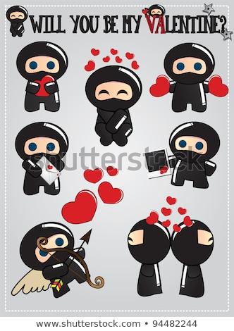 dia · dos · namorados · cartão · bonitinho · desenho · animado · ninja - foto stock © BlueLela
