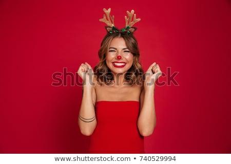 Nő karácsony jelmez szőke nő mikulás tart Stock fotó © oksanika
