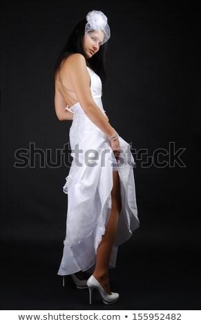 Liga recto primer plano novias piernas establecer Foto stock © pressmaster