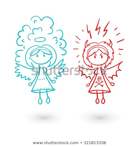Angel And Devil Doodle Drawing  Stock photo © stevanovicigor