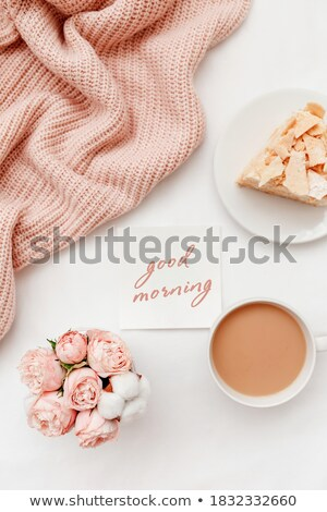 beautiful colorful cakes and pink roses still life stock photo © julietphotography