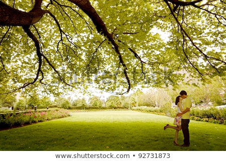 любящий азиатских пару дерево парка цветок Сток-фото © Witthaya