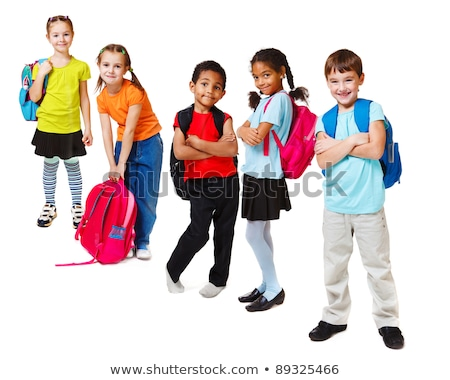 pretty girl with rucksack isolated on white stock photo © elnur