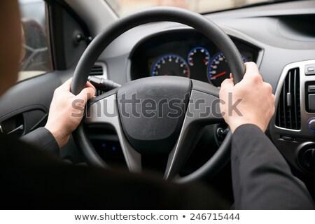 Közelkép kéz kormánykerék vezetés autó férfi Stock fotó © AndreyPopov