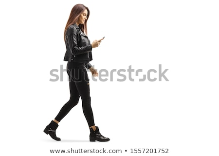 Stock photo: young woman with smart phone on white background studio