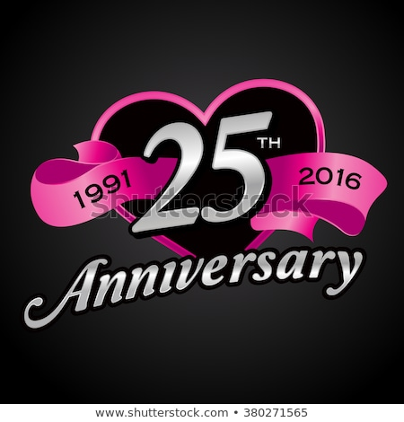 25th anniversary silver hearts on black Stock photo © Irisangel