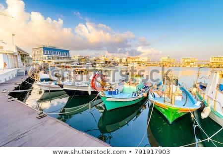 ストックフォト: 古い · 釣り · ボート · 港 · キプロス · 水