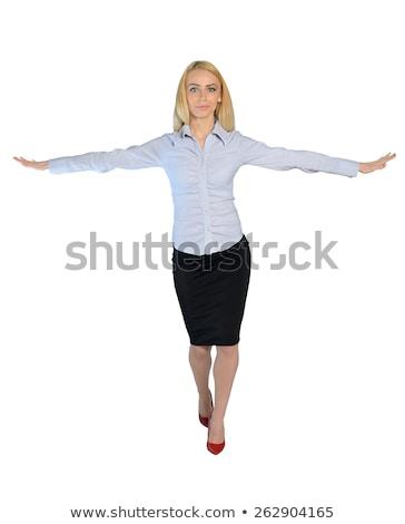 деловой женщины ходьбы мнимый веревку изолированный бизнеса Сток-фото © fuzzbones0