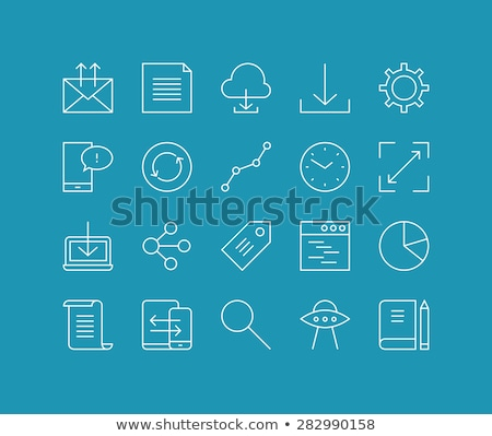 Fichiers nuage applications léger ligne icône Photo stock © RAStudio