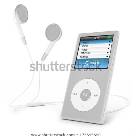 Mp3-speler geïsoleerd hoofdtelefoon muziek achtergrond witte Stockfoto © fuzzbones0
