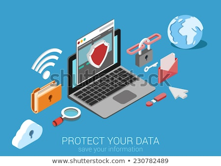 laptop with shield - internet security, antivirus or firewall Stock photo © netkov1
