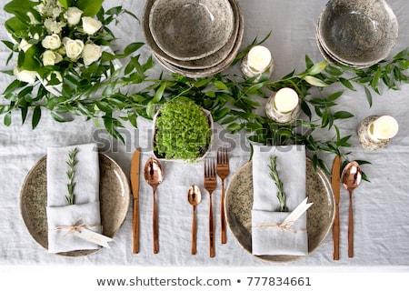 gyertyák · pezsgő · szemüveg · virágcsokor · virágok · váza - stock fotó © manera