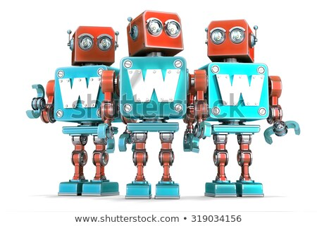 group of vintage robots with www sign technology concept isolated contains clipping path stock photo © kirill_m