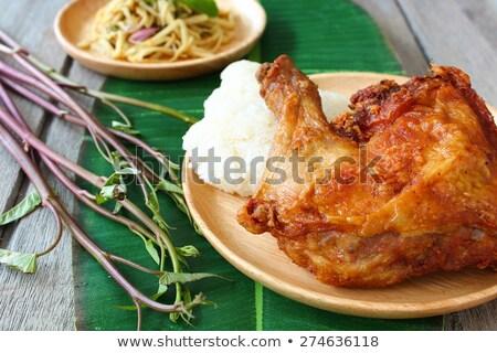 Rustikal tief Brathähnchen Haut Essen Stock foto © zkruger