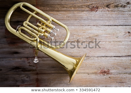 Baritone Horn on a Wooden Floor with Copy Space Stock photo © ozgur