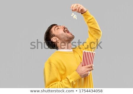 男 食べ ポップコーン 映画 映画 椅子 ストックフォト © wavebreak_media