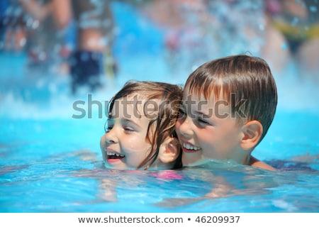 menina · natação · little · girl · potável · soda · piscina - foto stock © paha_l