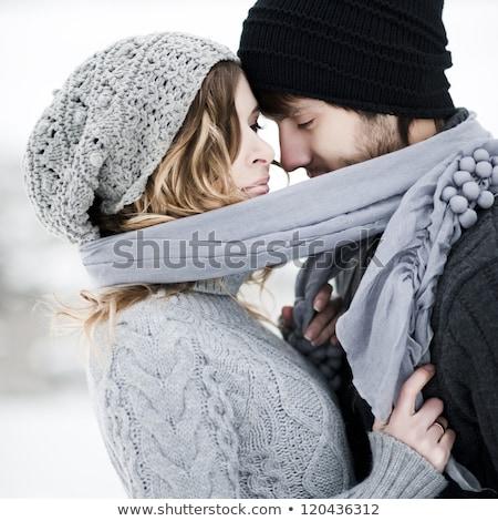 inverno · casal · céu · sorrir · cara · amor - foto stock © Paha_L