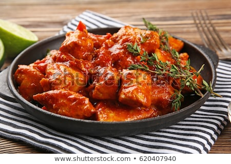 sliced chicken tikka Stock photo © neillangan