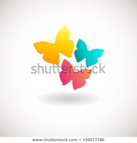 Three butterfly logo. Blue colors logotype. Logo sign in flat style colors. For beauty salon, health Stock photo © mcherevan