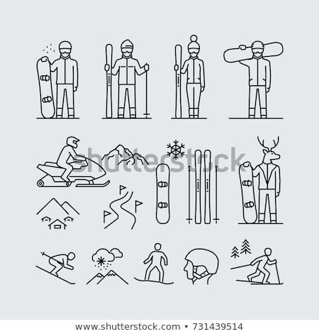 Uomo snowboard line icona web mobile Foto d'archivio © RAStudio
