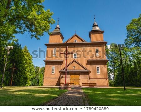 Fából készült katolikus templom Lengyelország építészet Európa Stock fotó © phbcz