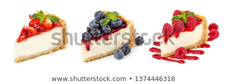 Ahududu strawberry cheesecake hizmet tatlı cam yalıtılmış Stok fotoğraf © Klinker