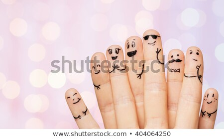 Stockfoto: Twee · handen · tonen · acht · vingers