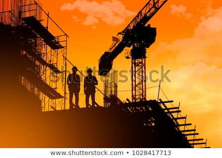 gebouw · dak · bouwplaats · teamwerk · silhouet · natuur - stockfoto © zurijeta