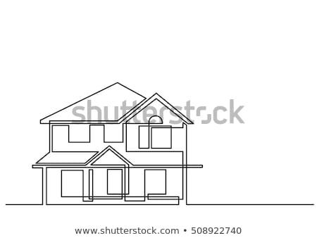 Maison individuelle ligne icône web mobiles Photo stock © RAStudio