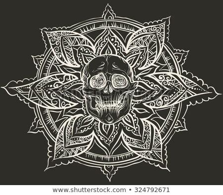ozdoba · czaszki · zestaw · kwiat · tekstury · głowie - zdjęcia stock © hayaship