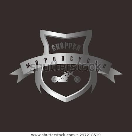 shiny silver shield chopper motorcycle stock photo © vector1st