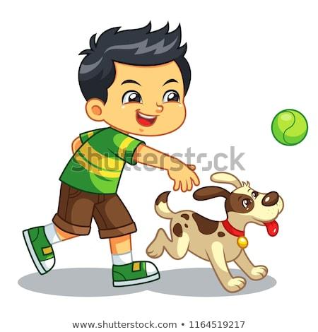 Сток-фото: мальчика · мяча · собака · оранжевый