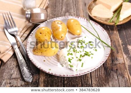 Fromage cottage de pomme de terre fromages dîner crème repas Photo stock © M-studio