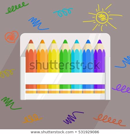 szín · ceruzák · iroda · tároló · fából · készült · szett - stock fotó © oleksandro