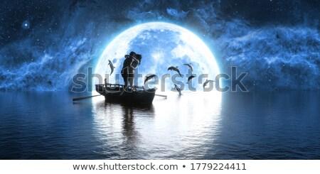 Amoureux baiser clair de lune illustration fille homme Photo stock © adrenalina