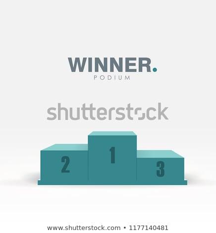 Biały zwycięzcy podium eps 10 czerwonym dywanie Zdjęcia stock © beholdereye